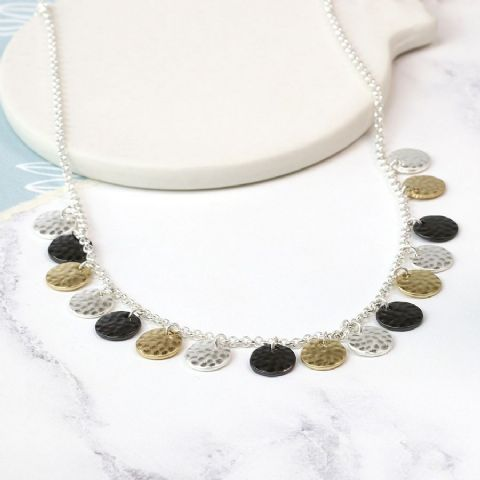 3 WORN COLOURED DISC NECKLACE